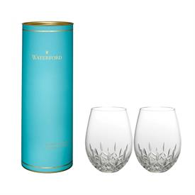 ,-LISMORE NOUVEAU STEMLESS RED WINE GLASS PAIR IN DAIRQUIRI BLUE TUBE