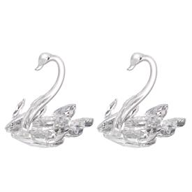 """-,PAIR OF CRYSTAL SWANS. 4.7"""" TALL, 5.5"""" LONG, 3.9"""" WIDE"""