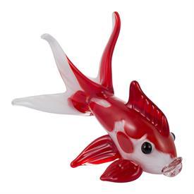 """-,'FLUTTER' GLASS FISH SCULPTURE. 8.7"""" TALL, 10.6"""" LONG, 6.7"""" WIDE"""