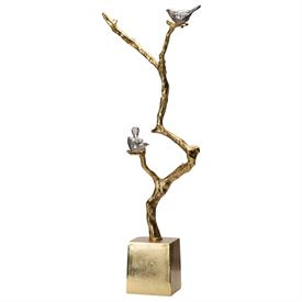 """-,SILVER BIRDS ON GOLD BRANCH STATUE. 24.8"""" TALL"""