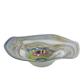"_,METALLIC SWIRL GLASS BOWL. 18.9"" WIDE, 5.5"" DEEP"