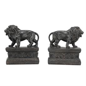 "-,PAIR OF RESIN LION BOOKENDS. 11.6"" LONG, 6.3"" TALL"