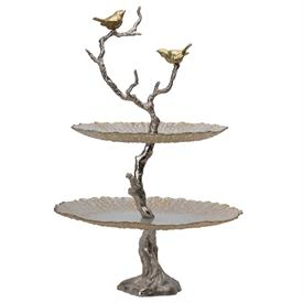 """-2-TIER CAKE STAND IN SILVER & GOLD BIRDS ON BRANCH MOTIF. 24"""" TALL, 15.5"""" WIDE"""