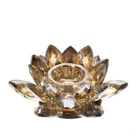 """_,TOPAZ CRYSTAL LOTUS CANDLE HOLDER. 3.5"""" TALL, 8.7"""" WIDE"""
