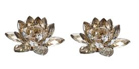 """_,PAIR OF SMALL TOPAZ LOTUS CANDLE HOLDERS. 2.2"""" TALL, 5.9"""" WIDE"""