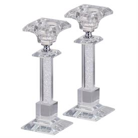 "_,PAIR OF LAINEY CLEAR CRYSTAL CANDLE STICKS. 7.5"" TALL"