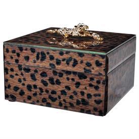 """-,SMALL LEOPARD JEWELRY BOX. 6"""" WIDE, 4"""" TALL"""