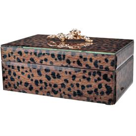 """,-LARGE LEOPARD JEWELRY BOX. 8.4"""" LONG, 5.3"""" WIDE, 4"""" TALL"""