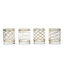 "_,SET OF 4 ASSORTED DOUBLE OLD FASHIONED GLASSES. 3.75"" TALL, 12 OUNCE CAPACITY EACH"