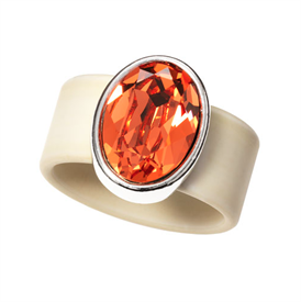 "-,LARGE SUNSTONE ON BEIGE BAND RING. SIZE 9. GENUINE .75"" SWAROVSKI CRYSTAL."