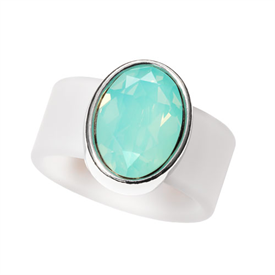 "-,SMALL PACIFIC OPAL ON CLEAR BAND RING. SIZE 7. GENUINE .75"" SWAROVSKI CRYSTAL."