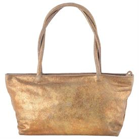 "-,COPPER SAND DISTRESSED LEATHER 'ASIA' BAG. 15.5"" LONG, 5.75"" WIDE, 16"" TALL"