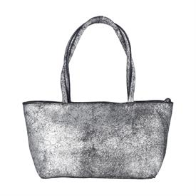 "-,SILVER BLACK DISTRESSED LEATHER 'ASIA' BAG. 15.5"" LONG, 5.75"" WIDE, 16"" TALL"