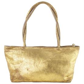 "-,GOLD BEIGE DISTRESSED LEATHER 'ASIA' BAG. 15.5"" LONG, 5.75"" WIDE, 16"" TALL"