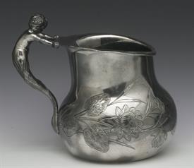 """,WATER PITCHER BY MERIDAN SILVER PLATED WITH MERMAN FIGURAL HANDLE 7.5"""" TALL CONDITION IS A 4 OUT OF 10 SILVER PLATED WORN AND BLACK INSIDE"""