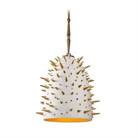 "-LARGE SPIKES HANGING LAMP. 13"" WIDE, 47.75"" LONG"