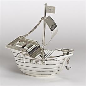 "-,PIRATE SHIP BANK. 6.5"" TALL"