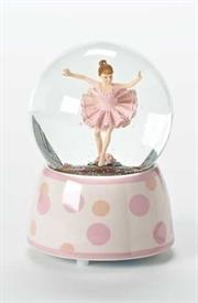 "-,BALLERINA GLITTER SNOWGLOBE MUSIC BOX. PLAYS 'SWAN LAKE'. 5.75"" TALL"