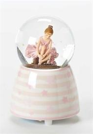 "-,SMALL BALLERINA GLITTER SNOWGLOBE MUSIC BOX. PLAYS 'FUR ELISE'. 3.5"" TALL"