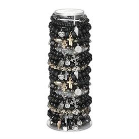 -ASSORTED BLACK TONED BEADED BRACELETS. 7""