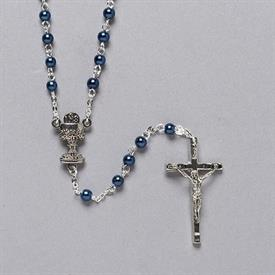 -,BLUE BEAD COMMUNION ROSARY