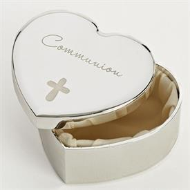 -,COMMUNION CROSS HEART KEEPSAKE BOX
