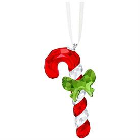 "-,CANDY CANE W/ GREEN BOW ORNAMENT. 2.25"" TALL, 1.2"" WIDE, .6"" DEEP"