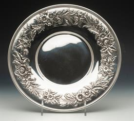 """,#727 COOKIE TRAY REPOUSSE STERLING SILVER 10.2"""" ROUND 13.55 TROY OUNCES"""