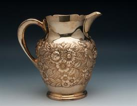 ",GOLD GILT WATER PITCHER STERLING SILVER MADE BY KIRK IN REPOUSSE 23.35 TROY OUNCES 8.2"" TALL #210AF HAND DECORATED"