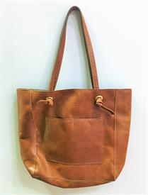 -,COGNAC KNOTTED HANDLE TOTE