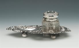 ",INK WELL SET STERLING SILVER MADE BY HAMILTON & DIESINGER 7.25"" ACROSS BY 4.5"" WIDE BY 2.75"" TALL CRYSTAL BOTTLE"