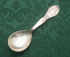 "TEA CADDY SPOON LARGE MADE IN DENMARK 6.75"" LONG SILVER"