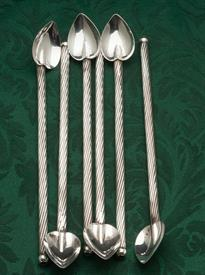 ",SET OF 6 STERLING SILVER TWIST HANDLE SIPPING STRAWS 2.95 TROY OUNCES TOTAL 7.8"" LONG"