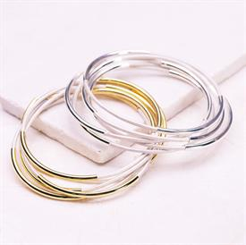 -,SILVER & WHITE CLASSIC BANGLE SET
