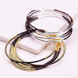 -,SILVER & BROWN CLASSIC BANGLE SET