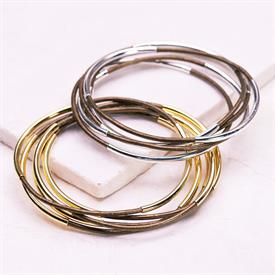 -,SILVER & BRONZE CLASSIC BANGLE SET