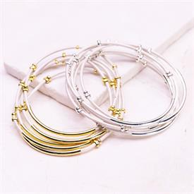 -,SILVER & WHITE STUDDED BANGLE SET