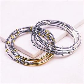 -,SILVER & GREY STUDDED BANGLE SET