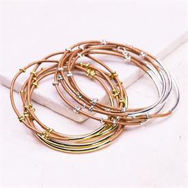 -,SILVER & COPPER STUDDED BANGLE SET