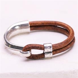 -,LIGHT BROWN SILVER HALF HOOK BRACELET