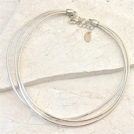 -,WHITE 3 STRAND LEATHER NECKLACE