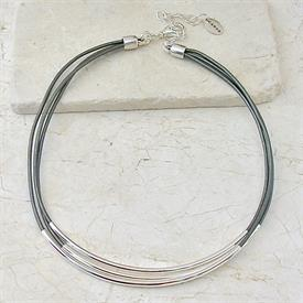 -,GREY 3 STRAND LEATHER NECKLACE