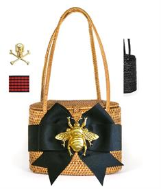 -,GOLD GATOR BASKET BAG