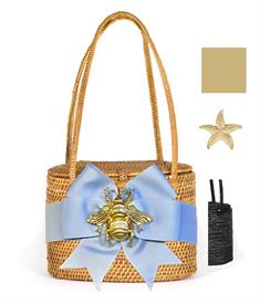 """-,SAVANNAH BAG IN BLACK WITH WHITE TRIMMED TAN RIBBON & GOLD STARFISH CHARM. 7"""" WIDE, 5.5"""" TALL, 4"""" DEEP. WOVEN STRAPS"""