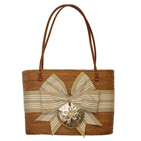 "-,STRAW & WHITE STRIPE BOW WITH GOLD SAND DOLLAR LARGE OVAL BALI BAG. 13"" WIDE, 10"" TALL, 4"" DEPTH, 26"" LEATHER HANDLES"