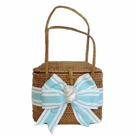"-,TURQUOISE & WHITE BOW WITH WHITE SHELL HIGH BABY BALI BAG. 5.5"" WIDE, 5"" TALL, 3"" DEPTH"