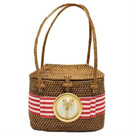 "-,RED & WHITE STRIPE RIBBON WITH WHITE & GOLD LOBSTER HIGH BABY BALI BAG. 5.5"" WIDE, 5"" TALL, 3"" DEPTH"