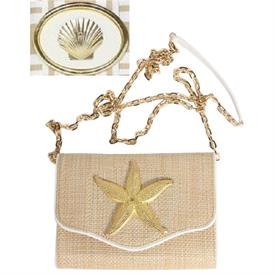 "-,STRAW & WHITE CROSS BODY BAG WITH SCALLOP MOTIF & GOLD CHAIN. 8"" WIDE, 5.5"" TALL, 2.5"" DEPTH. 60"" STRAP"