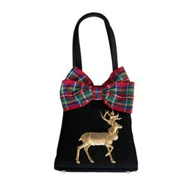 -,EVENING TRAP RED PLAID BOW WITH DEER BAG.