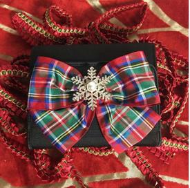 -,SQARE EVENING BAG WITH PLAID BOW & CRYSTAL SNOWFLAKE